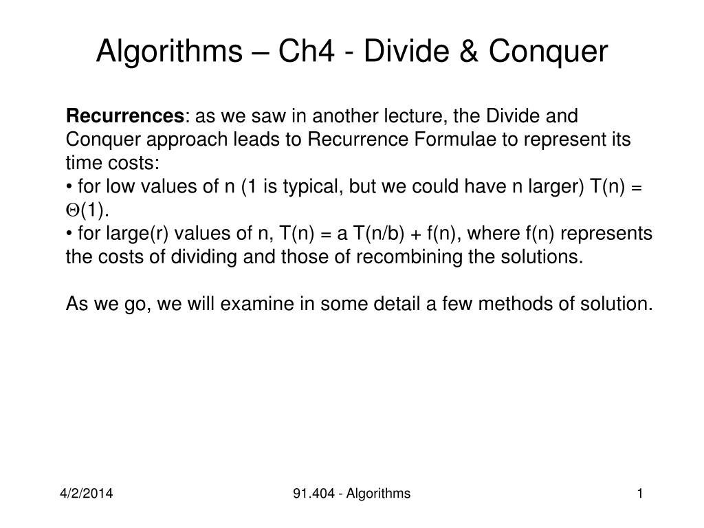 algorithms ch4 divide conquer l.
