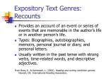 expository text genres recounts