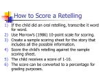 how to score a retelling
