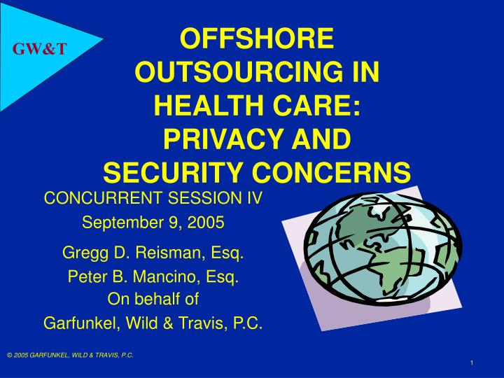 offshore outsourcing in health care privacy and security concerns n.