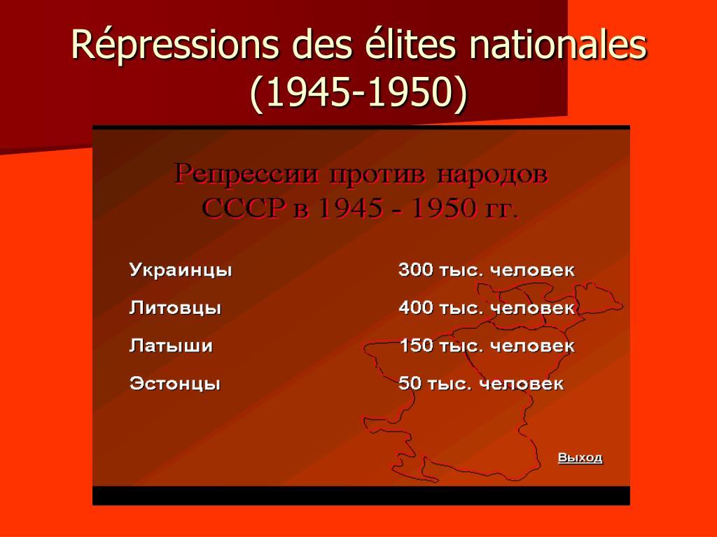 Répressions des élites nationales (1945-1950)