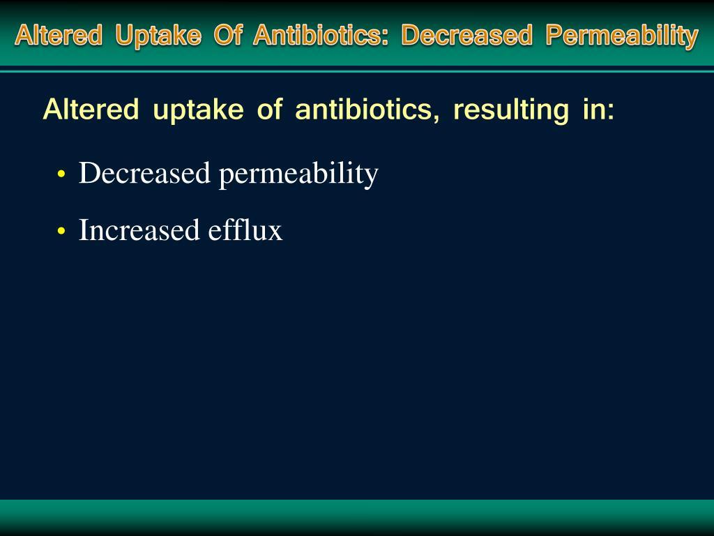 Altered Uptake Of Antibiotics: Decreased Permeability