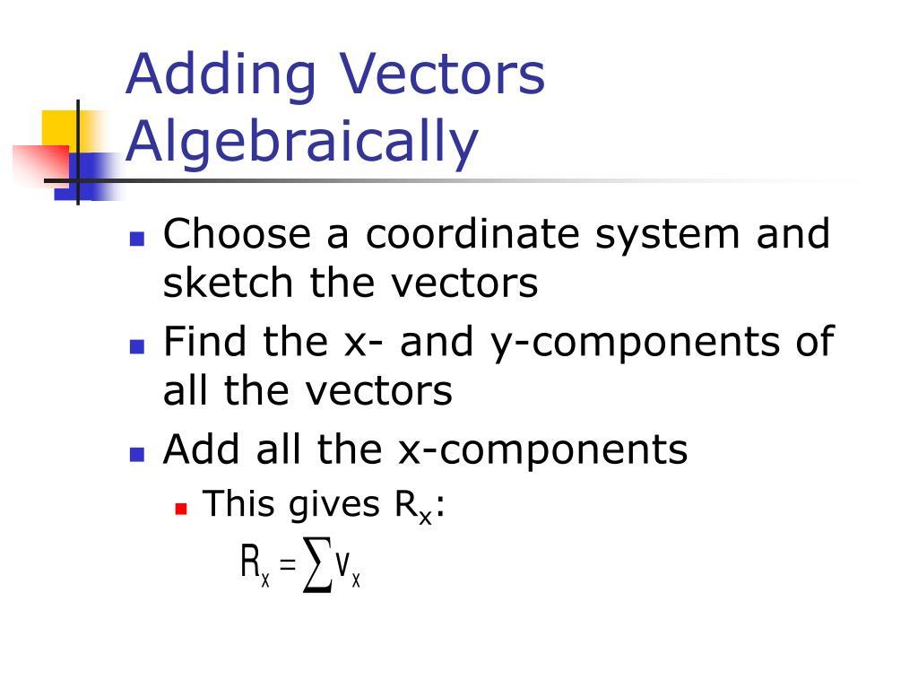 Adding Vectors Algebraically