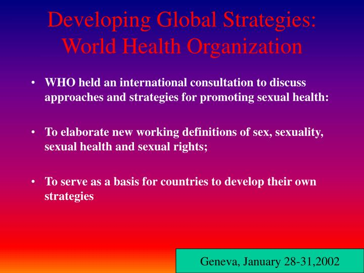 Sexual health working definitions
