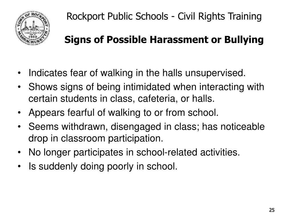 Indicates fear of walking in the halls unsupervised.