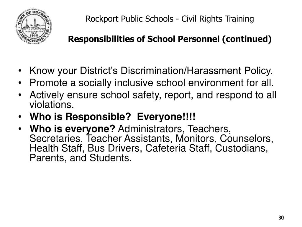 Know your District's Discrimination/Harassment Policy.