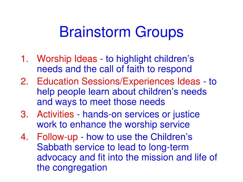 Brainstorm Groups