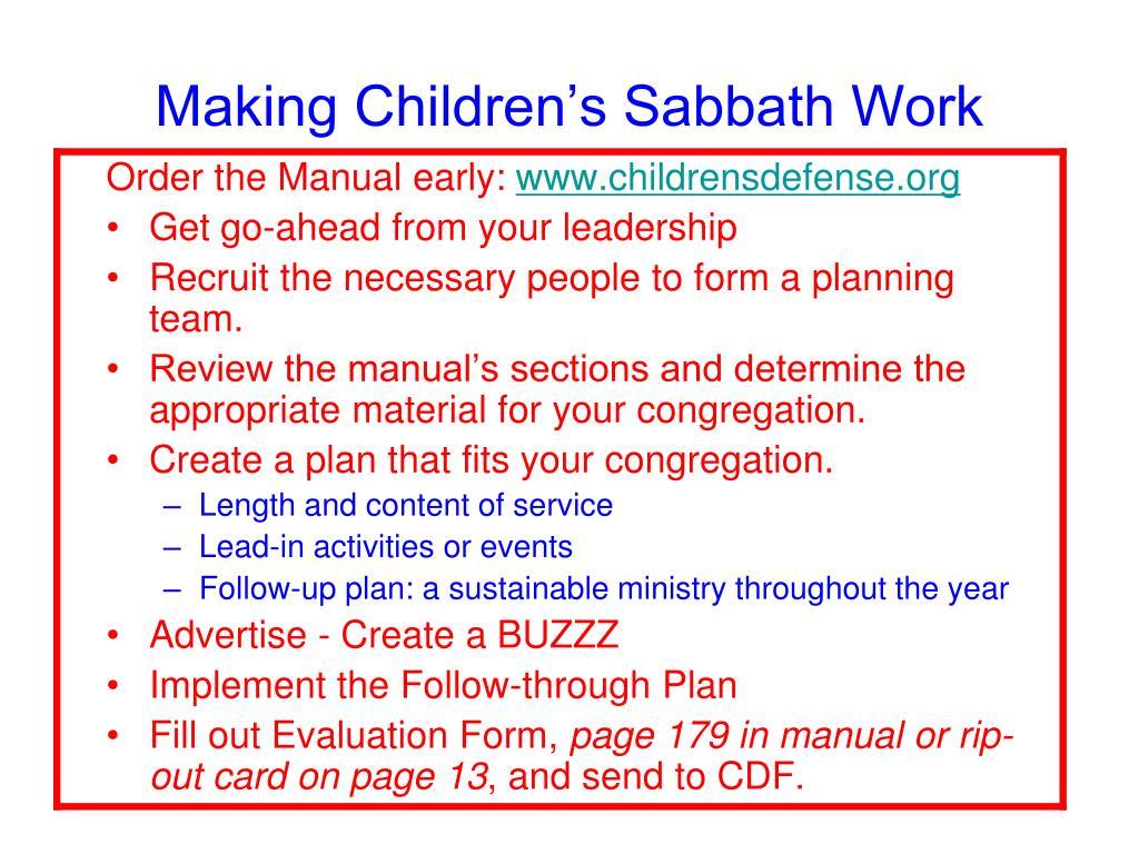 Making Children's Sabbath Work