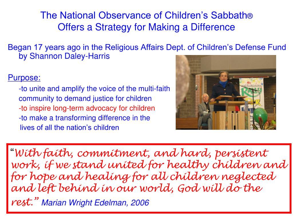 The National Observance of Children's Sabbath