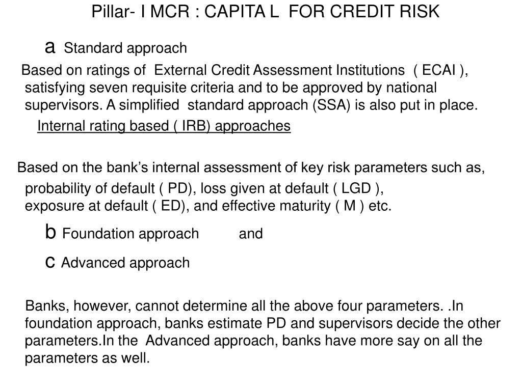 Pillar- I MCR : CAPITA L  FOR CREDIT RISK