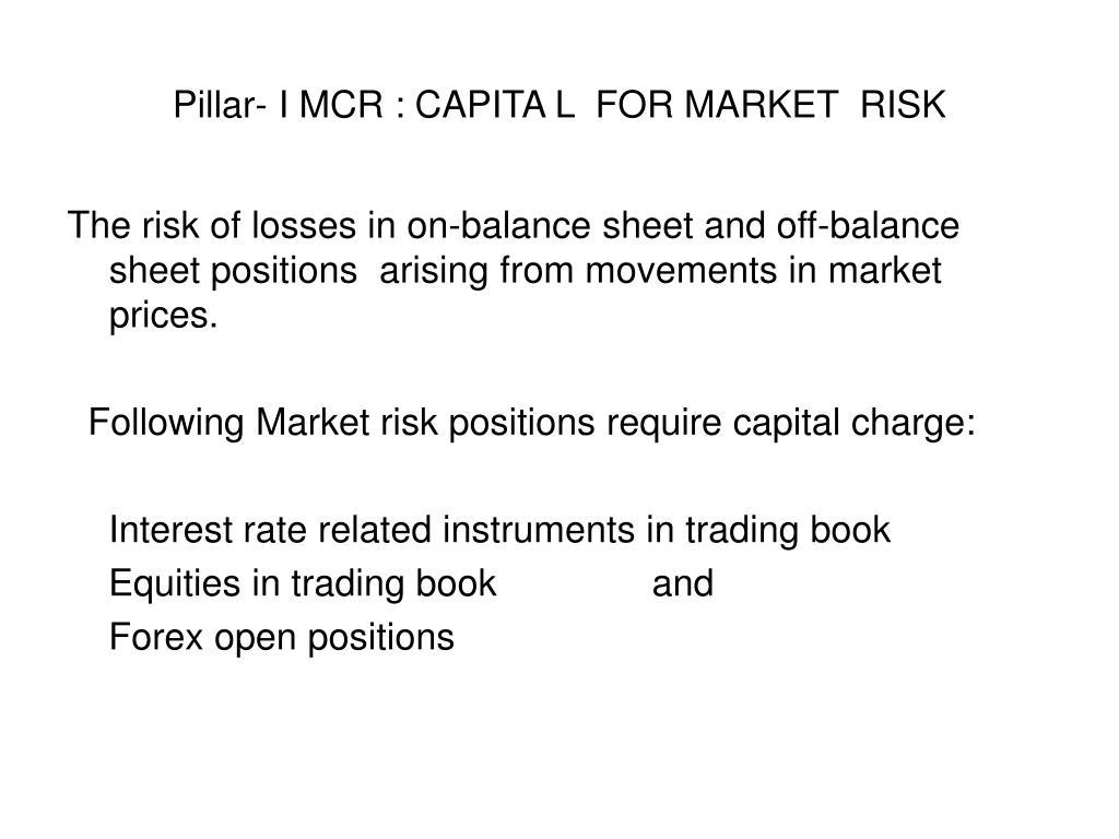 Pillar- I MCR : CAPITA L  FOR MARKET  RISK