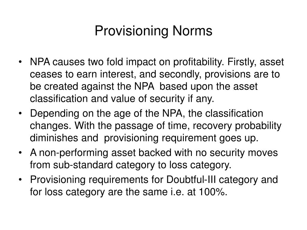 Provisioning Norms