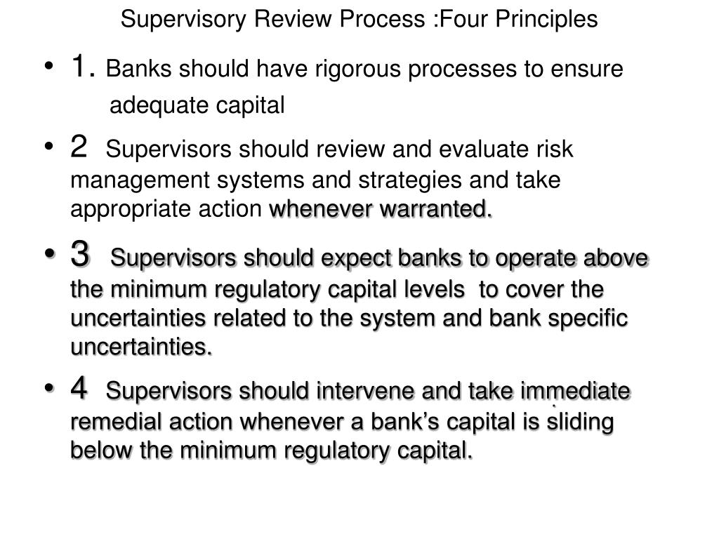 Supervisory Review Process :Four Principles