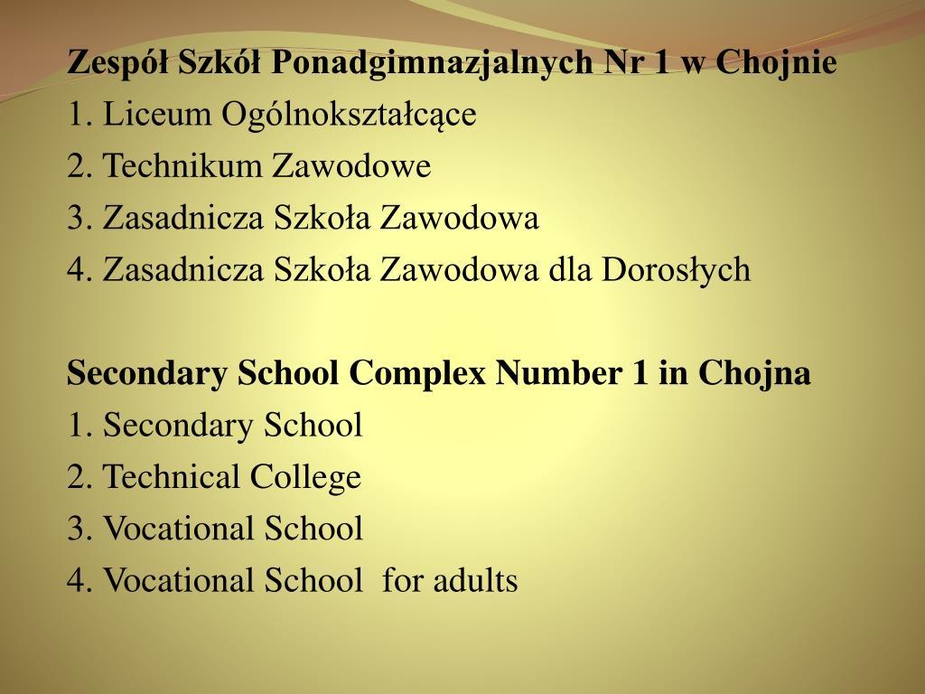 Zespół Szkół Ponadgimnazjalnych Nr 1 w Chojnie