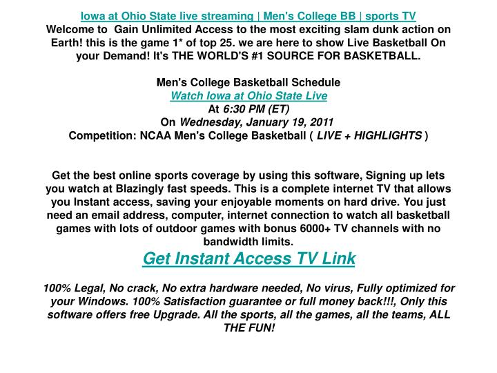Iowa at Ohio State live streaming | Men's College BB | sports TV