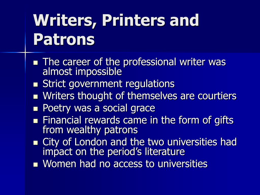Writers, Printers and Patrons