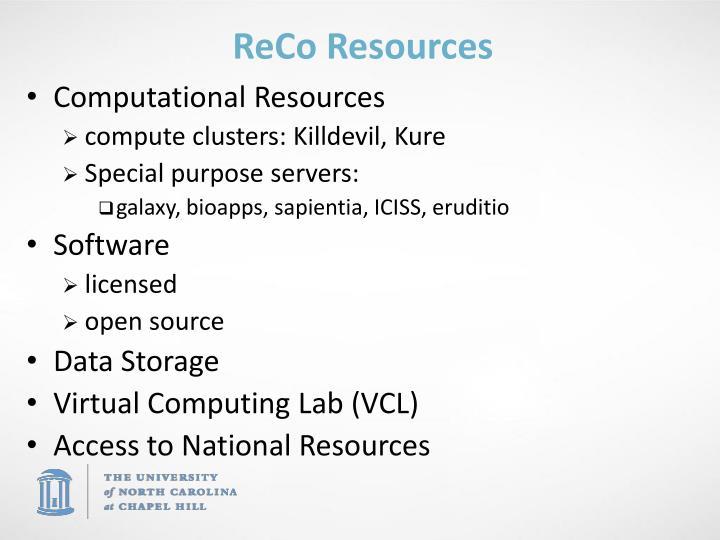Reco resources