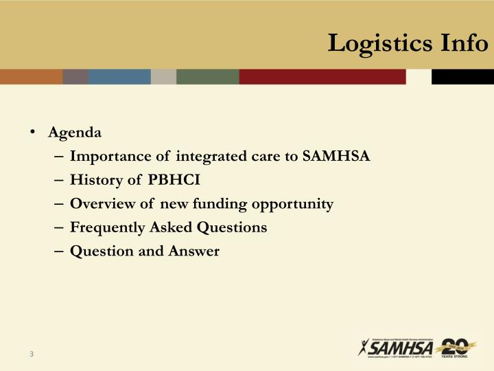 Logistics info