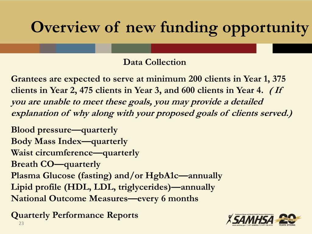 Overview of new funding opportunity
