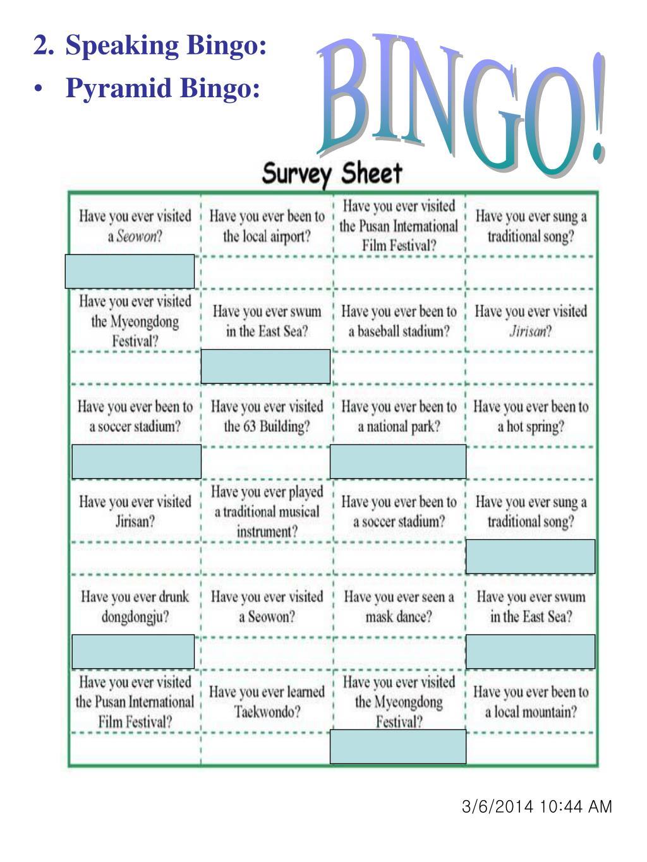 Speaking Bingo:
