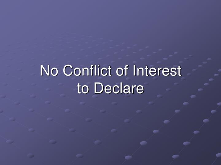 No conflict of interest to declare