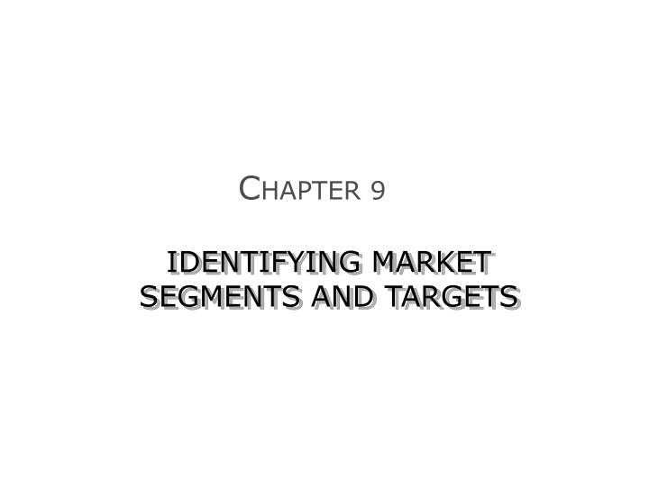 identifying market segments and targets n.