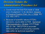 decision violates the administrative procedure act
