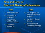 pros and cons of informal meetings submissions