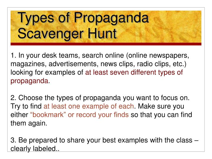 Ppt Types Of Propaganda Scavenger Hunt And Share Powerpoint