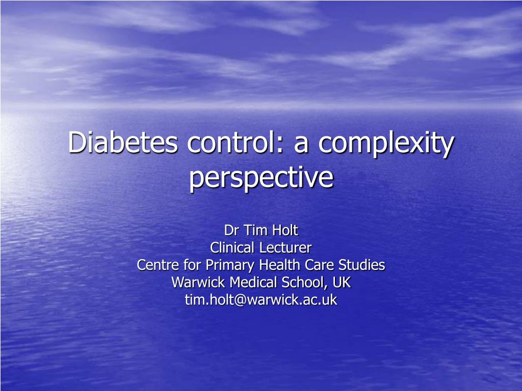 diabetes control a complexity perspective