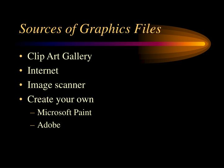 Sources of Graphics Files