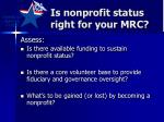 is nonprofit status right for your mrc