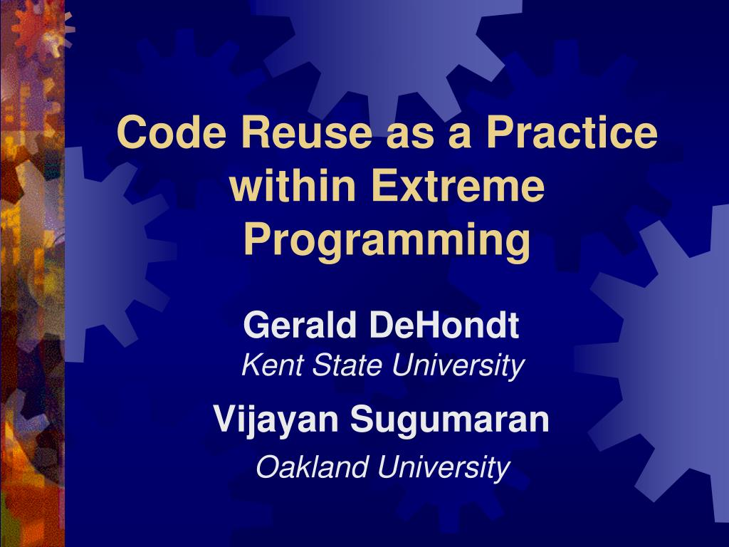 code reuse as a practice within extreme programming l.