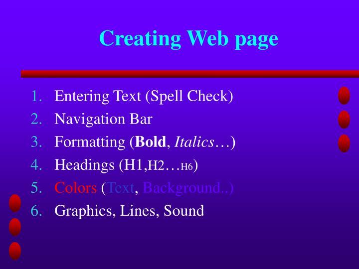 Creating Web page