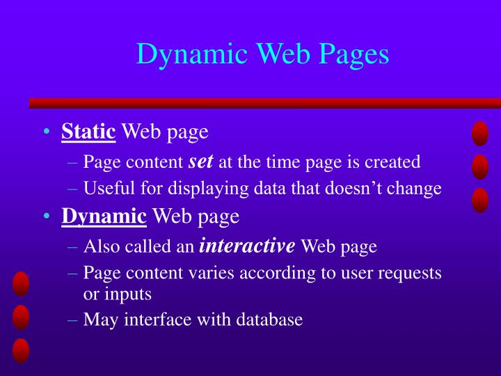 Dynamic Web Pages