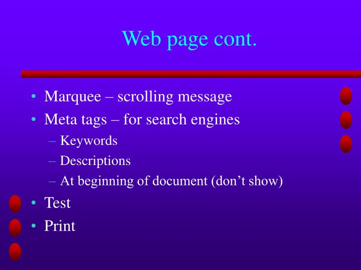 Web page cont.