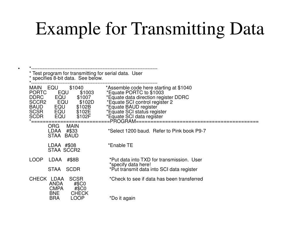 Example for Transmitting Data