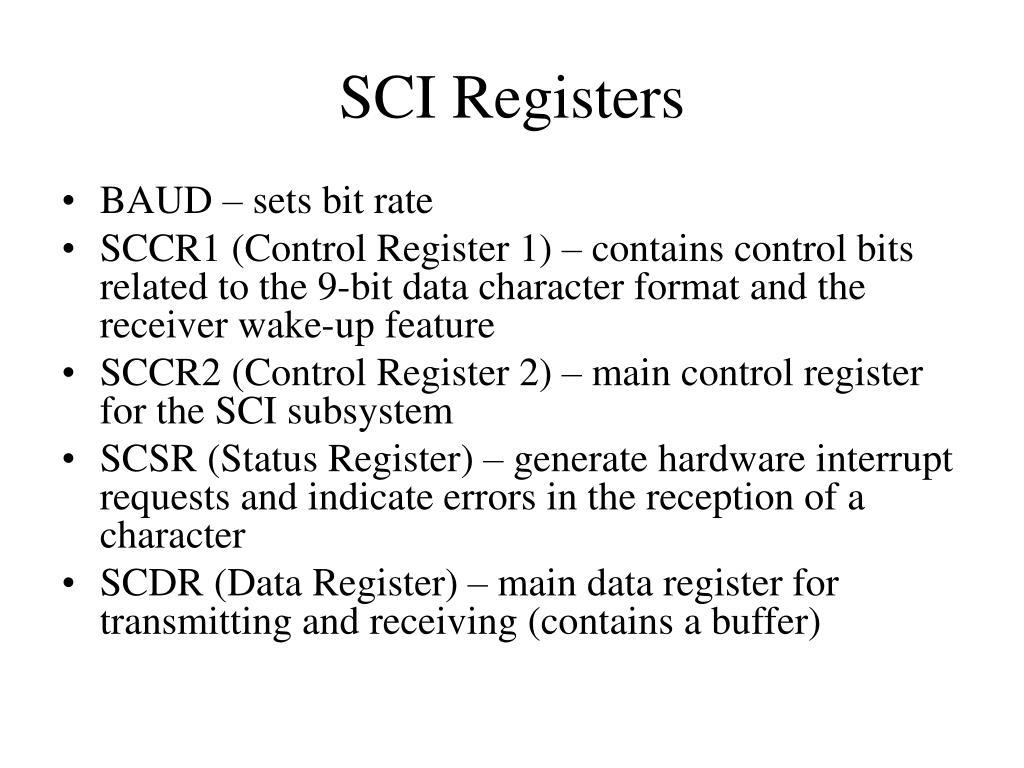 SCI Registers