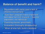balance of benefit and harm