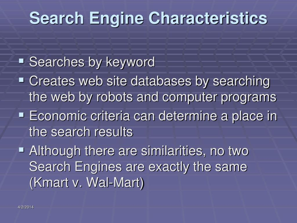 Search Engine Characteristics