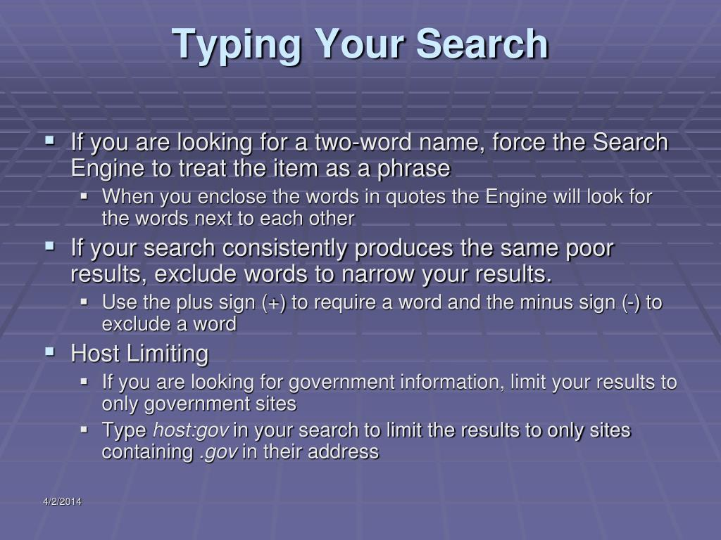 Typing Your Search