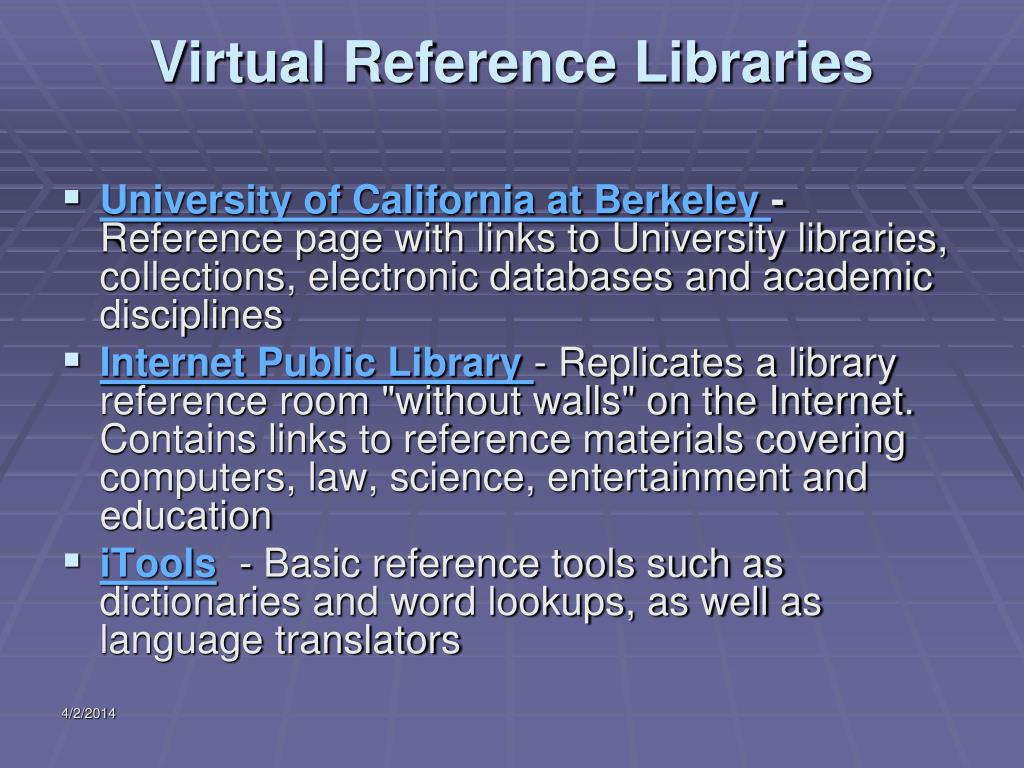 Virtual Reference Libraries