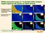 epma elemental maps of fe zeolite scr catalyst engine aged for 50 cycles at 750 c front