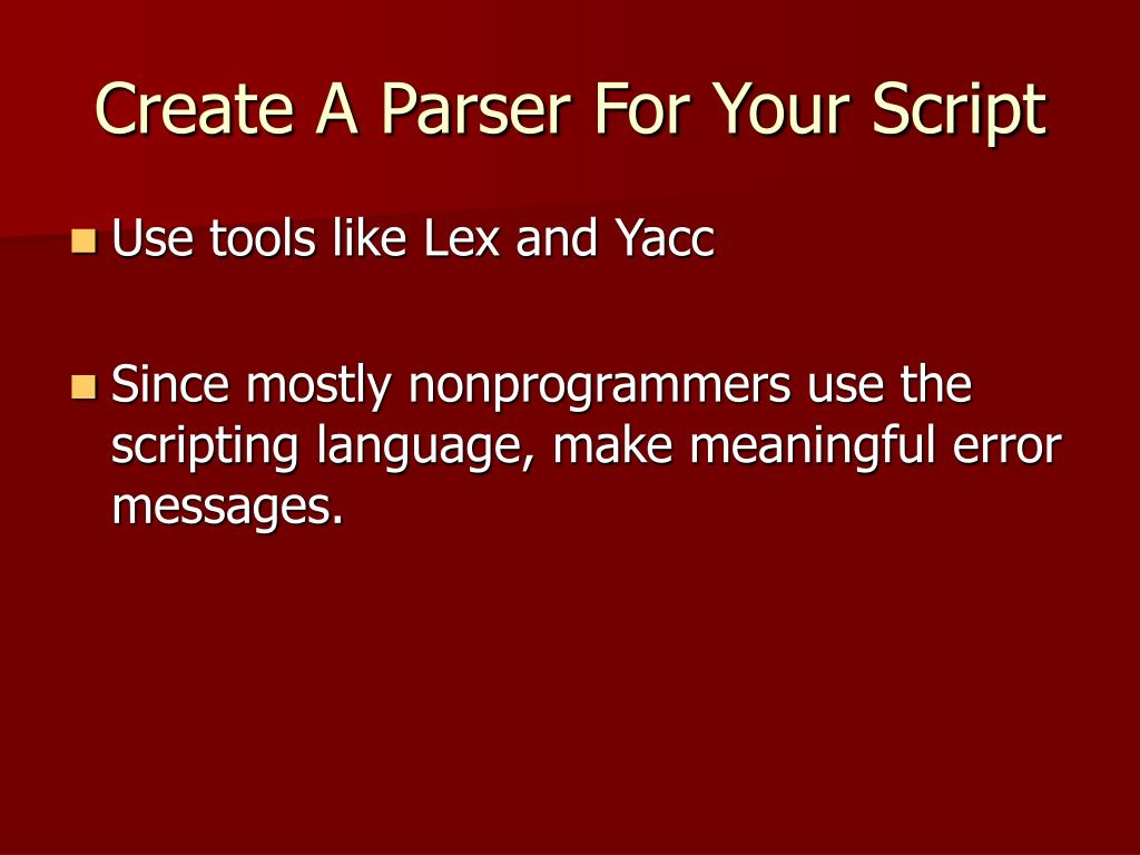 Create A Parser For Your Script