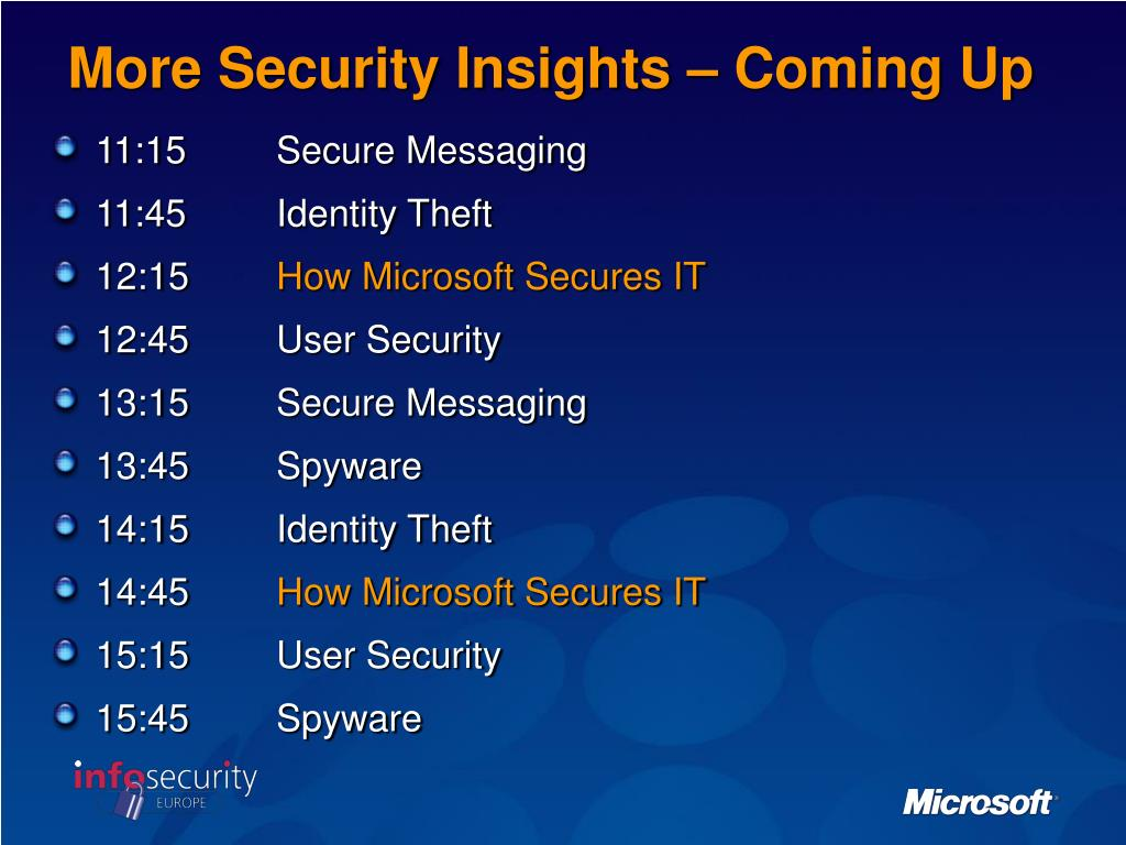 More Security Insights – Coming Up