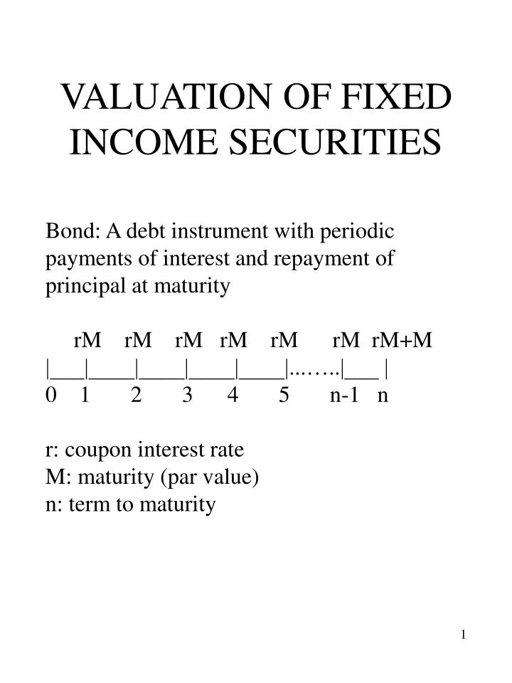 valuation of fixed income securities n.