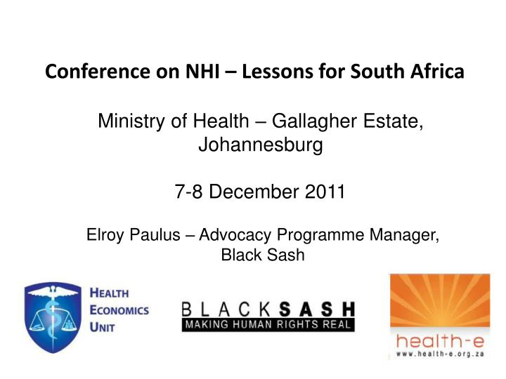 conference on nhi lessons for south africa n.