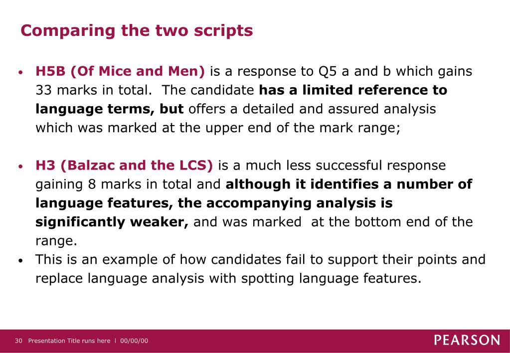 Comparing the two scripts