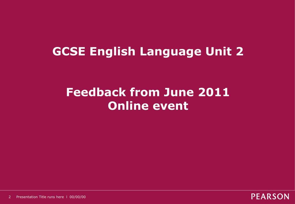GCSE English Language Unit 2