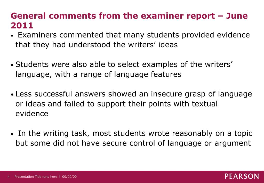 General comments from the examiner report – June 2011